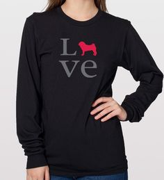 Show your #pug you #love them! Righteous Hound - Unisex Long Sleeve LOVE Pug T-Shirt, $28.00 (http://www.righteoushound.com/unisex-long-sleeve-love-pug-t-shirt/)