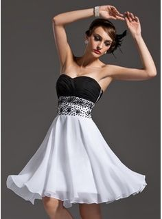 A-Line/Princess Sweetheart Knee-Length Chiffon Cocktail Dress With Ruffle Beading Sequins  black and white