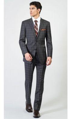 2 Button Notch Modern Faro Plaid Charcoal Men's Suit