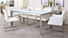 Eve White Frosted Glass with Brushed Stainless Steel and Monti Leather Extending Dining Set from Danetti.