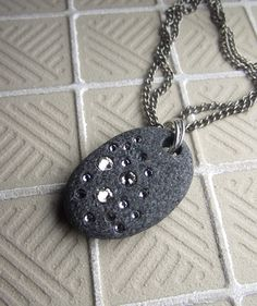 Beach stone with swarovski crystals necklace