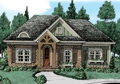 Check out Plan a sq. European house plan with 2 bedrooms, bathrooms, an open floor plan, and a split bedroom layout. European Plan, European House Plans, French Country House Plans, French Cottage, Low Country, House Plans One Story, Small House Plans, Story House, Cottage Floor Plans