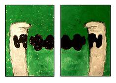 """CONVERSATION SILENCIEUSE"".  Diplotype : Glycéro/papier. 2x(90x60). PHILIPPE MEZINSKI."