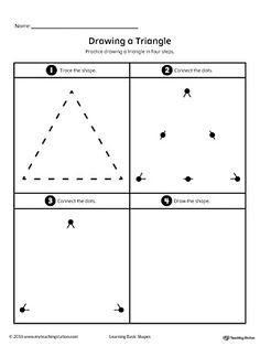 Drawing a Triangle Shape Worksheet.Practice drawing a geometric Triangle shape in four steps in this printable worksheet.