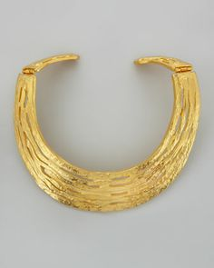 Hammered Satin Golden Collar Necklace by Kenneth Jay Lane at Neiman Marcus.