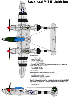 Lightning Type Heavy fighter Manufacturer Lockheed Designed by Kelly Johnson Maiden flight 27 January 1939 Introduction 1941 Retired 1949 Primary u. Ww2 Aircraft, Fighter Aircraft, Military Aircraft, Air Fighter, Fighter Jets, Air Force Images, Lockheed P 38 Lightning, Aircraft Painting, Military Pictures