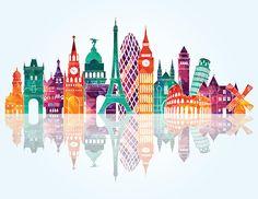 Europe skyline detailed silhouette. Vector illustration vector art illustration