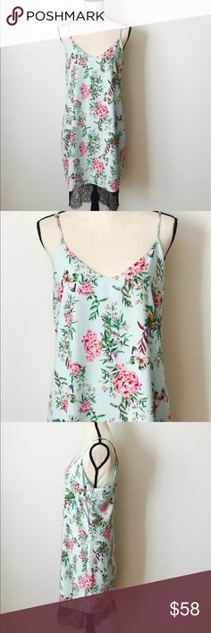Adelyn Rae butterfly dreamy flower slip dress RA7 Adelyn Rae Size Large pretty flower butterfly dress in light green tone with a hint of black lace hem . Also available size Medium.Please feel free to ask questions pertaining to item before purchase. Thanks . Adelyn Rae Dresses