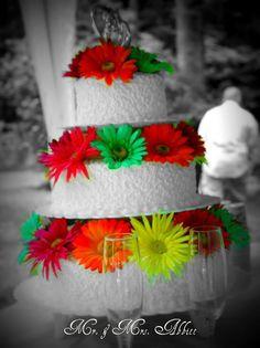 Bright Flower Wedding Cake
