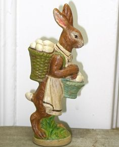 Chalkware Rabbit from an antique chocolate mold Chocolate Rabbit, Rabbit Sculpture, 1960s Toys, Easter Season, Rabbit Art, Easter Parade, Historical Art, Chocolate Molds, Primitive Decor