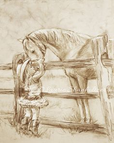 """girl and horse, """"Cowgirl Whispers"""" monotone archival print, child wall art, horse art, Laurie Shanholtzer  Ask a Question $18.00"""