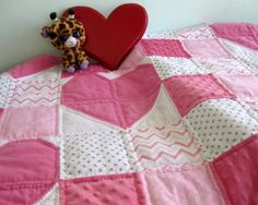 Heartly Pink Roses designed by the Baby Quilt Lady - Unique Baby Quilt Boutique  http://uniquebabyquiltboutique.com/