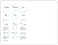 Half-Size 2017 Yearly Calendar Printable