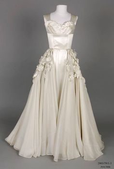 Wedding dress designed and made by Beril Jents, 1952
