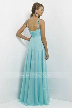 Elegant A-line Halter V-neck Crystal Detailing Floor-length Chiffon Prom Dresses_2