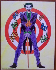 The Joker Poster by Carmine Infantino and Murphy Anderson: Card stock, size 11 x 14 inches, using Lobby Card grades, this would be FN+ with a pinhole at 1.5 inches from the left side and 2 inches from the bottom, part of a set by Infantino and Anderson issued by DC (then NPP) in 1966, during the height of Batmania, © National Periodical Publications, Inc, 1966 appears at the bottom, O/P. $40