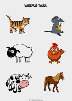 Lajitellaan kuvakortit identtisten kuvien päälle. Farmieläimiä.