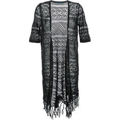 Guild Prime Fringed Crochet Long Cardigan ($147) ❤ liked on Polyvore featuring tops, cardigans, black, crochet top, fringe cardigan, crochet cardigan, crochet fringe top and long cardigan