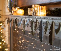 Make a Paper Feather Garland with Glittering Tips