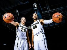 Travis Trice (left) and Denzel Valentine of MSU during MSU Men's Basketball Media Day Tuesday October 28, 2014 at the Breslin Center in East Lansing.  Kevin W. Fowler, Lansing State Journal