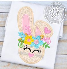 Floral Easter Bunny Shirt for Girls Floral Bunny Shirt Embroidery Monogram, Custom Embroidery, Embroidery Files, Embroidery Applique, Embroidery Patterns, Embroidery Boutique, Machine Embroidery Projects, Bunny Face, Applique Designs