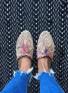 Raffia Slipper Schuhe multicolor handmade NEU Stroh Bast espadrille morocco babouche bunt shoe inspiration summer