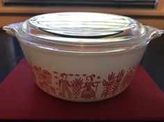 Rare Vintage Pyrex Butterprint Amish Pink Casserole 1 1/2 Pt. 472 w/Lid