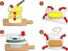 Unusual way of preparing a hot sandwich (DIY) Perfect Grilled Cheese, Making Grilled Cheese, Grilled Sandwich, Food Hacks, Food Tips, Food Ideas, I Love Food, Queso, Cooking Tips