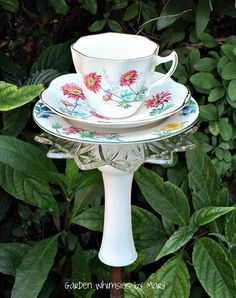 Garden Totem Stake Pink Mums Teacup by GardenWhimsiesByMary, $30.00