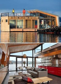 This is a house boat. Or more accurately, a floating house. Love that interior.