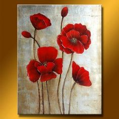 Wall art, when created by an artist with a passion for painting, is often special. And this wall art, a skillful representation of bright, red poppies encircled by a background rich in varying shades of gray and black is special and spectacular, as well.