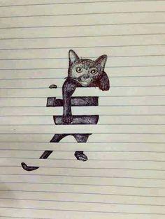 Kat in lijntjes papier.