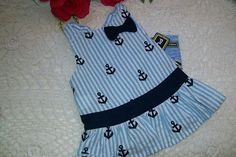 Navy Anchor Dog Dress s M Pup Crew New Puppy Pet Clothes Nautical Sailor SM Med | eBay