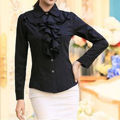 Vintage Ruff Collar Long Sleeves Flounce Blouse For WomenVintage Blouses | RoseGal.com