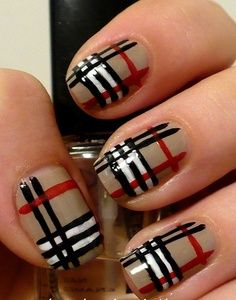 Burberry nails! Cute! Not sure if I would rock it though...It would Definitely depends on my mood!