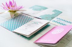 destination wedding passport invitation design with matching wrap around address labels.