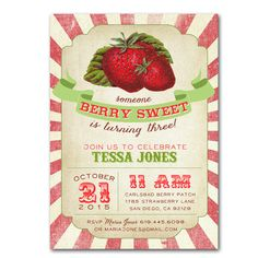 Berry Sweet Vintage Strawberry Invitation - invite customized and personalized - digital file - MATCHING PARTY PACK available! by ShopAlysonMade on Etsy https://www.etsy.com/listing/193760852/berry-sweet-vintage-strawberry