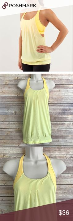 Firm!!!!! Lululemon practice freely yellow tank Size 4, in very good condition, no visible flaws! Super soft! *** NO modeling or trades! ::159 lululemon athletica Tops Tank Tops