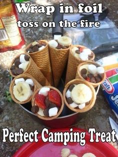The perfect camping treat for the campfire! Fruit, marshmallows and chocolate in… The perfect camping treat for the campfire! Fruit, marshmallows and chocolate in a waffle cone. Holi Party, Dessert Party, Camping Essentials, Camping Hacks, Camping Checklist, Camping Recipes, Camping Desserts, Easy Camping Food, Camping Stuff