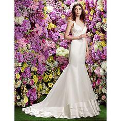 Lanting+Bride®+Trumpet+/+Mermaid+Wedding+Dress+See-Through+Wedding+Dresses+Court+Train+Straps+Organza+/+Satin+with+–+USD+$+199.99