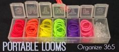 Ideas for Rainbow Loom organization at home and on the go, and other toy organization ideas too. | Organize 365