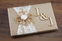 Rustic guest Book Burlap & Lace Guest book byItems similar to Personalized Rustic wedding guest book- burlap guest book-bridal wish book - burlap cotton and lace on Etsy Fun Wedding Invitations, Rustic Invitations, Wedding Cards, Diy Wedding, Trendy Wedding, Bridal Shower Cards, Bridal Shower Rustic, Rustic Wedding Guest Book, Wedding Book