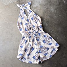 printed open back halter romper with tassels detailing - shophearts - 1