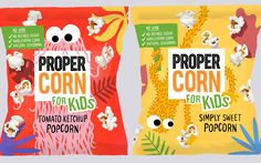 UK snack brand Propercorn is targeting lunchboxes and after-school occasions with its new popcorn for kids range. packaging, Propercorn launches snack range for children in two new flavours Popcorn Packaging, Chip Packaging, Packaging Snack, Kids Packaging, Food Packaging Design, Packaging Design Inspiration, Brand Packaging, Coffee Packaging, Bottle Packaging