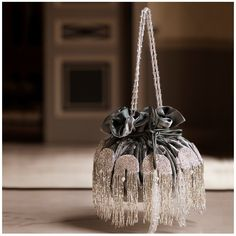 Silver-green embrooidered potli bag available only at pernia qureshi brands Beaded Purses, Beaded Bags, Ladies Side Bags, Bridesmaid Bags, Potli Bags, Embroidery Bags, Wedding Clutch, Bag Accessories, Accessories Online