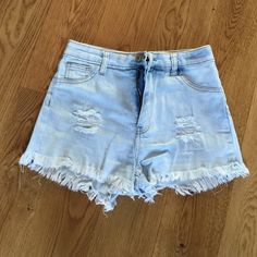 "Gogo Star denim shorts Light washed denim shorts. Worn once. So cute!  Size 7. 12"" from waist. Zip and button front. Gogo Star Shorts"