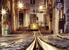 Lisbon - Portugal - Old bica. by Nessa G. Lisbon Tram, Lisbon City, Spain And Portugal, Lisbon Portugal, Tramway, Night Photos, Countries Of The World, Historical Photos, Great Photos