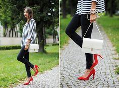 STRIPE SHIRT + RED HEELS (by Patrycja R) http://lookbook.nu/look/3762477-STRIPE-SHIRT-RED-HEELS