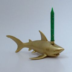 Gold Shark Candle: Golden Birthday
