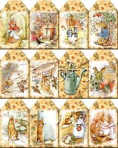free printable vintage gift tags | Peter Rabbit ViNtAgE ArT Hang/Gift Tags -Printable Collage Sheet ...